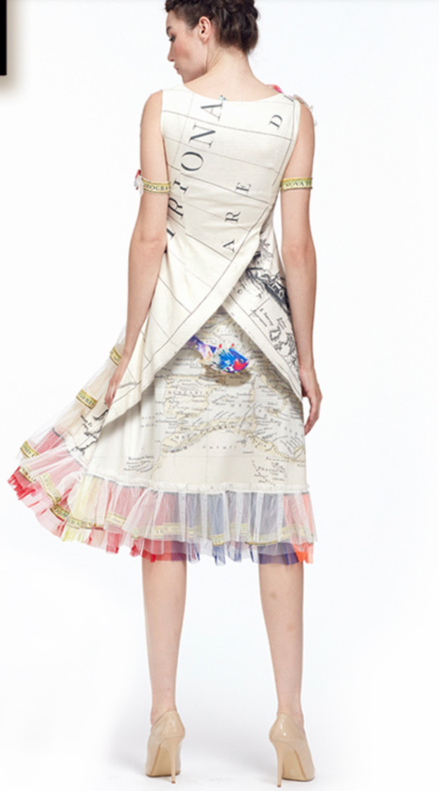 IPNG: The World At Your Paper Boat Trip Map Illusion Tulle A-line Gown