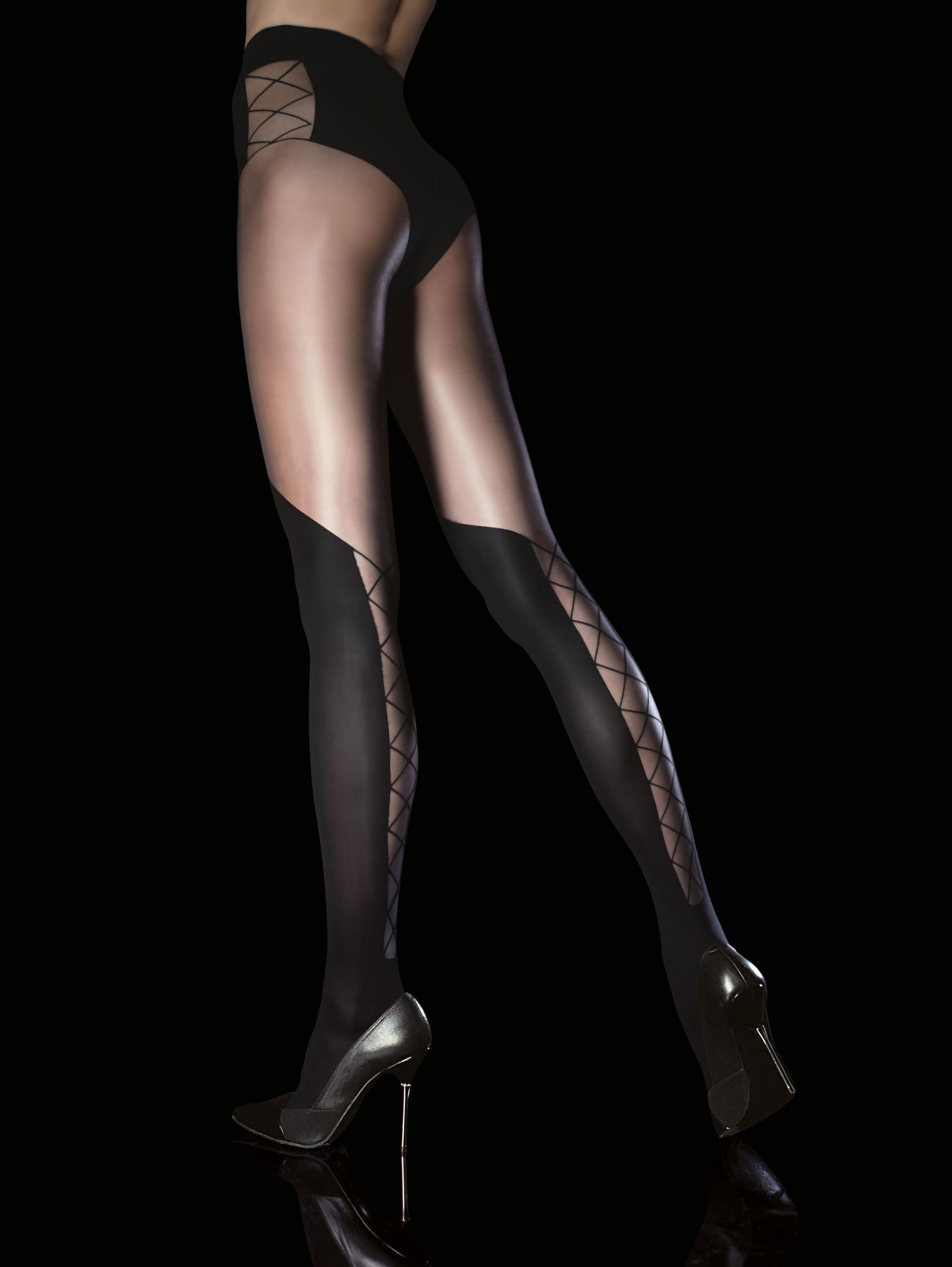 Fiore: Sensual Corset Patterned Tights (1 Left!) FIO_DARYA_N1