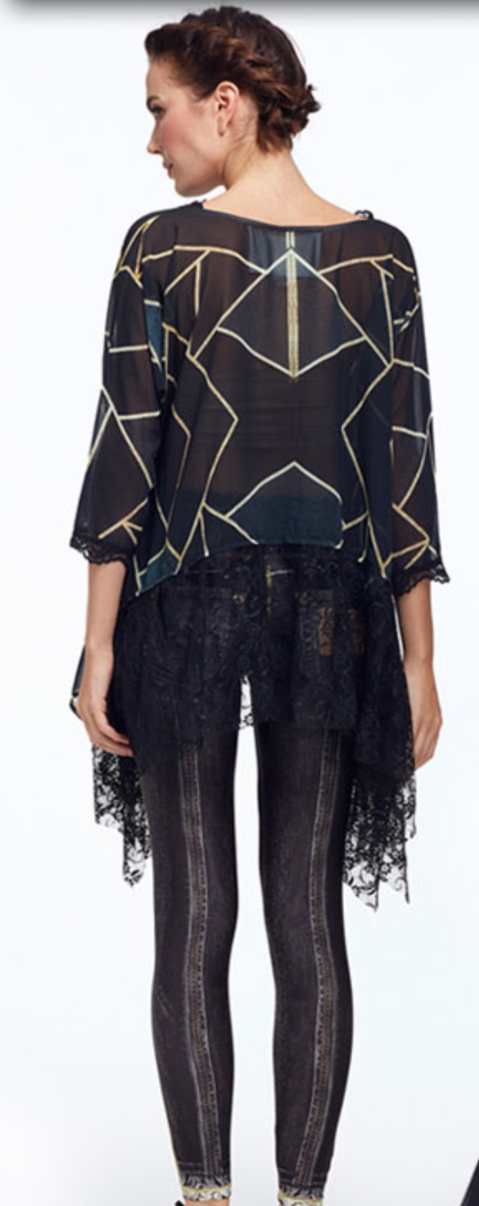 IPNG: Love Me Black Bejeweled Illusion Asymmetrical Tunic