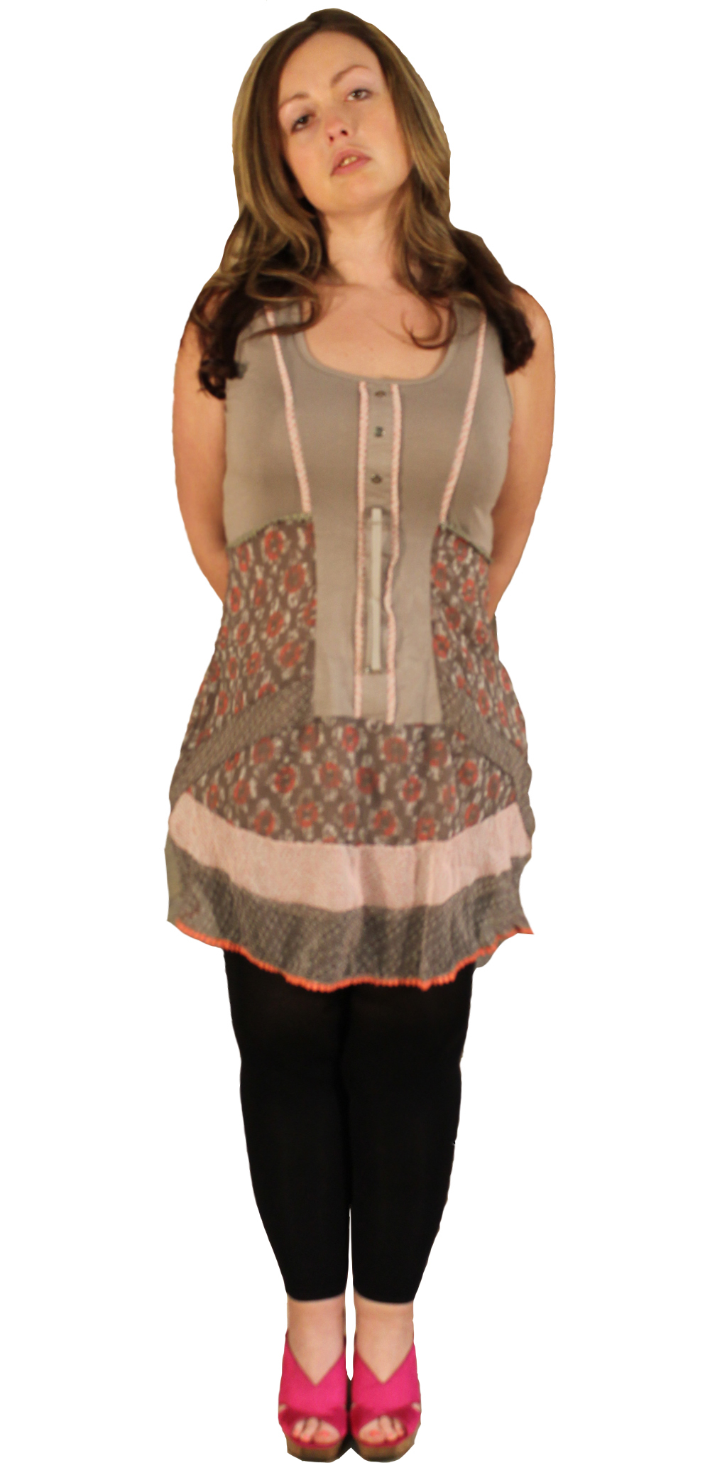 Dolcezza Crinkle Laced Tunic (Only Beige/Pink 1 Left!)