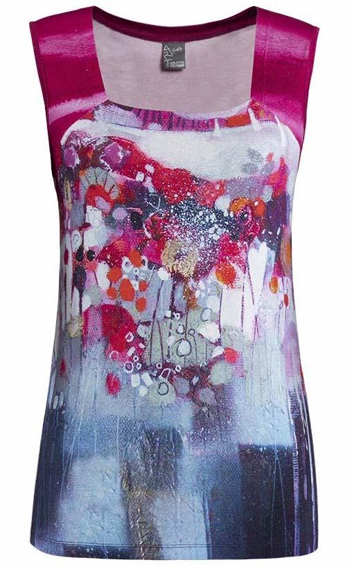 Simply Art Dolcezza: Fuschia Candy Storm Abstract Art Top (1 Left!) DOLCEZZA_SIMPLY_ART_19652_N