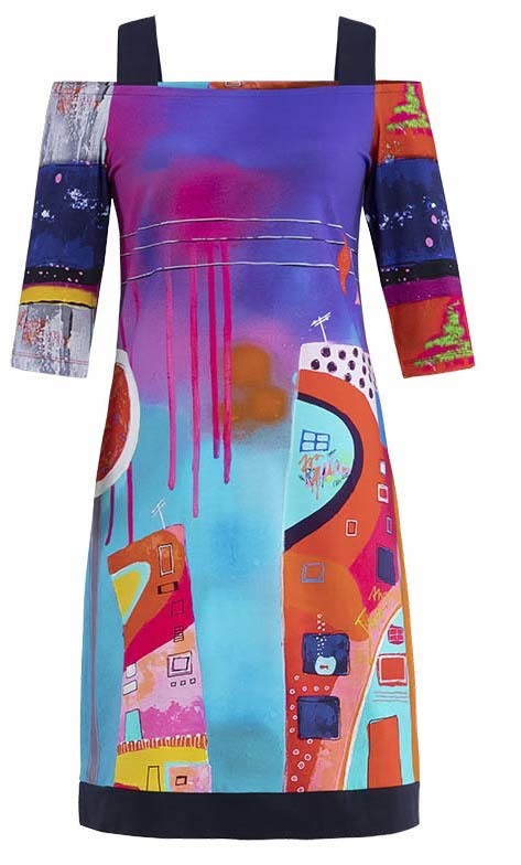Simply Art Dolcezza: Fuschia Paint Spill Cold Shoulder Midi Dress/Tunic (More Arrived!)