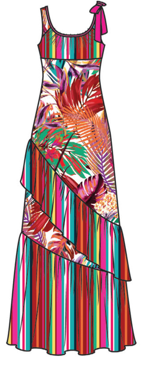 Paul Brial: Jungle Of Pink Purple Blooms Maxi Dress