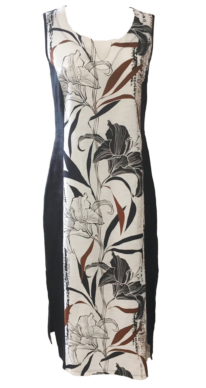 Maloka: Black Lily Sketch Art Colorblock Linen Maxi Dress
