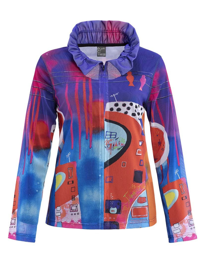 Simply Art Dolcezza: Fuschia Paint Spill Zip Up Jacket SOLD OUT DOLCEZZA_SA_19635_N1