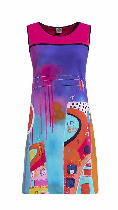 Simply Art Dolcezza: Fuschia Paint Spill Flared Sundress (1 Left!) DOLCEZZA_SA_19634_N1
