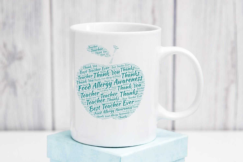 Coffee Mug with Teal Apple for Teacher