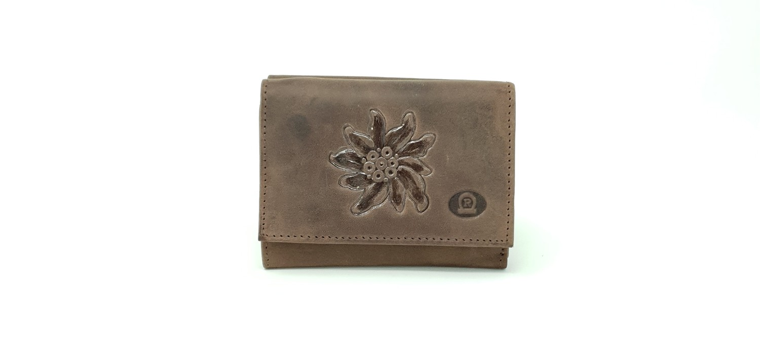 Men's wallet in hunter leather with edelweiss print