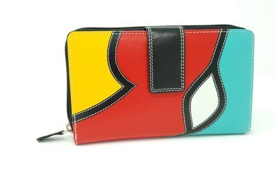 Women's purse with loop and zip, pop-art style, L-size