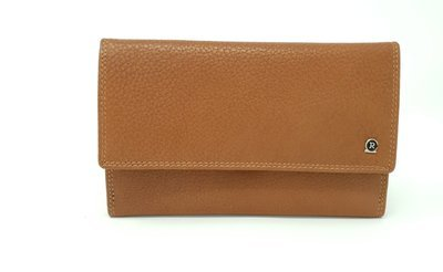 Wome's purse classic brown, calf leather, L-size
