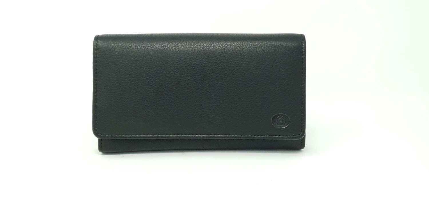Calf leather waiter wallet with zip inside