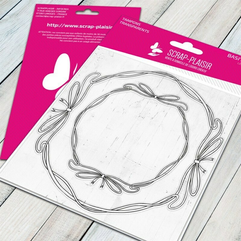 Set de 2 tampons clear cadres rubans ronds - combinable avec tampons - 10x10,5cm