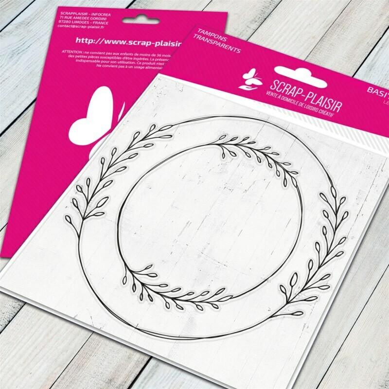 Set de 2 tampons clear cadres couronnes de feuilles - combinable avec tampons - 10x10,5cm