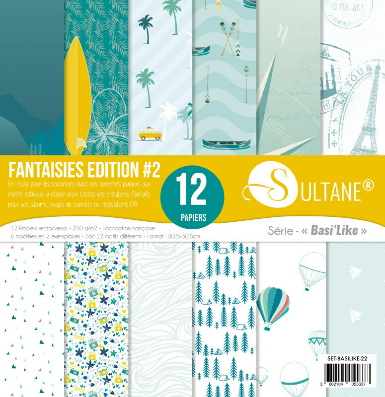 Set 12 papiers scrapbooking - Fantaisies Edition #2 - 250g/m2
