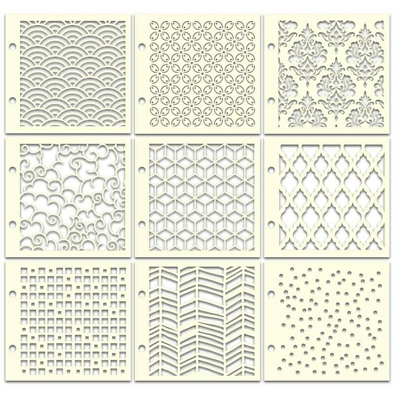 Lots de 9 pochoirs aux motifs géométriques et baroques