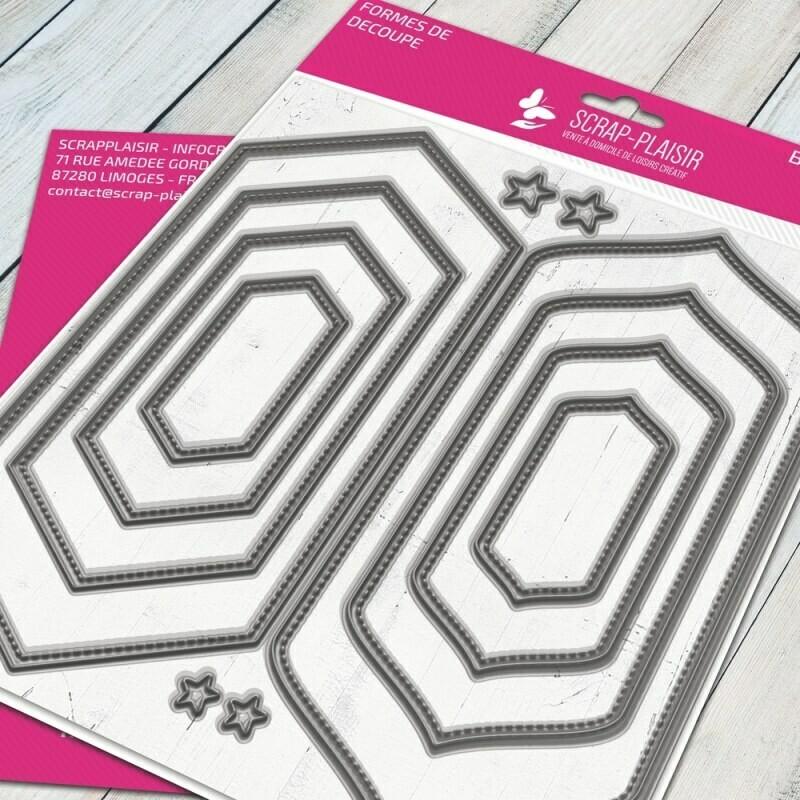 Set de 3 matrices de découpes dies cadre fausse couture             - 14,5x14,5cm