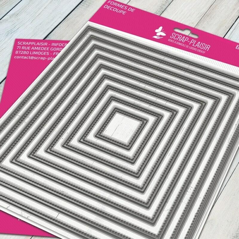 Set de 9 matrices de découpes dies carré + fausse couture             - 14,5x14,5cm