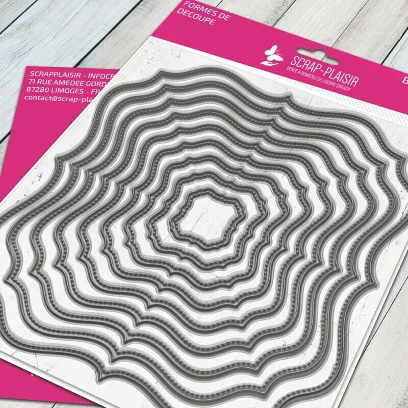 Set de 9 matrices de découpes dies cadre romantique + fausse couture - 14,5x14,5cm