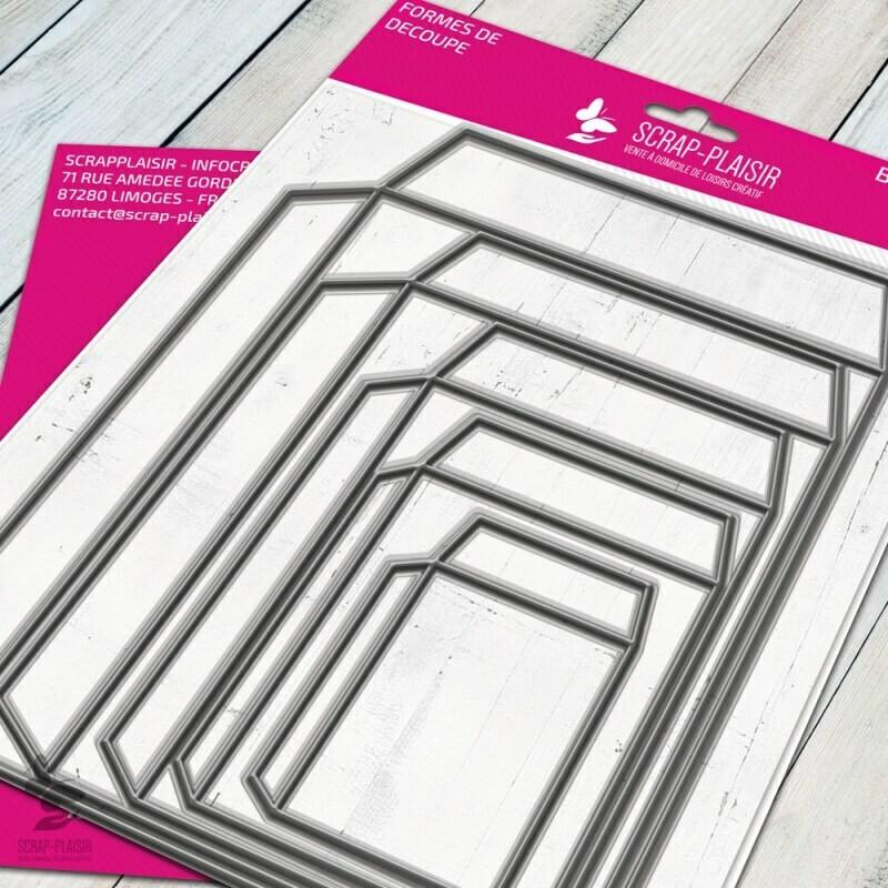 Set de 5 matrices de découpes dies enveloppes et structures             - 15x15cm