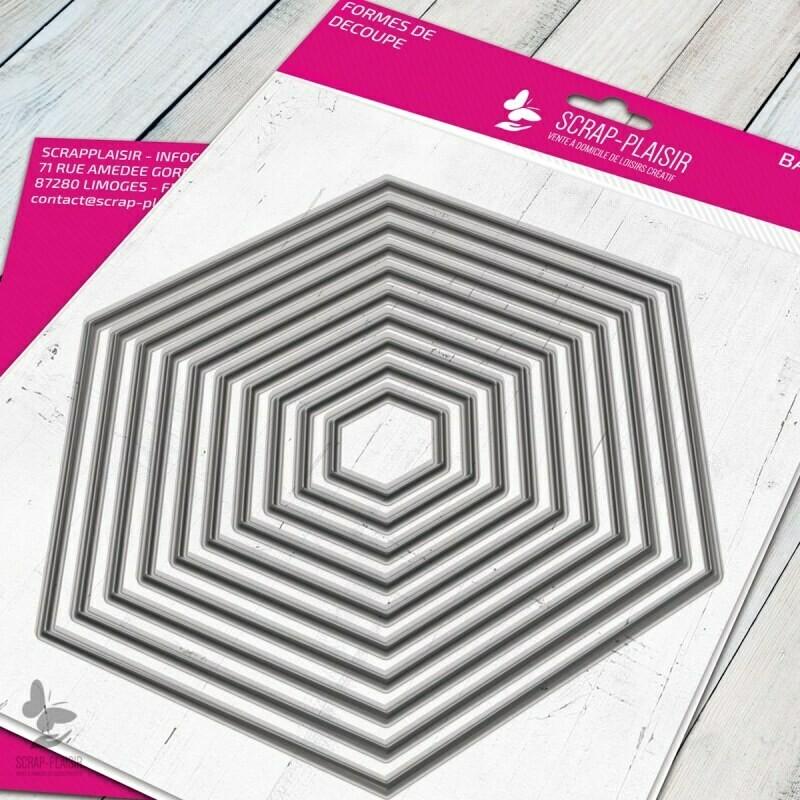 Set de 10 matrices de découpes dies hexagones             - 14,5x14,5cm