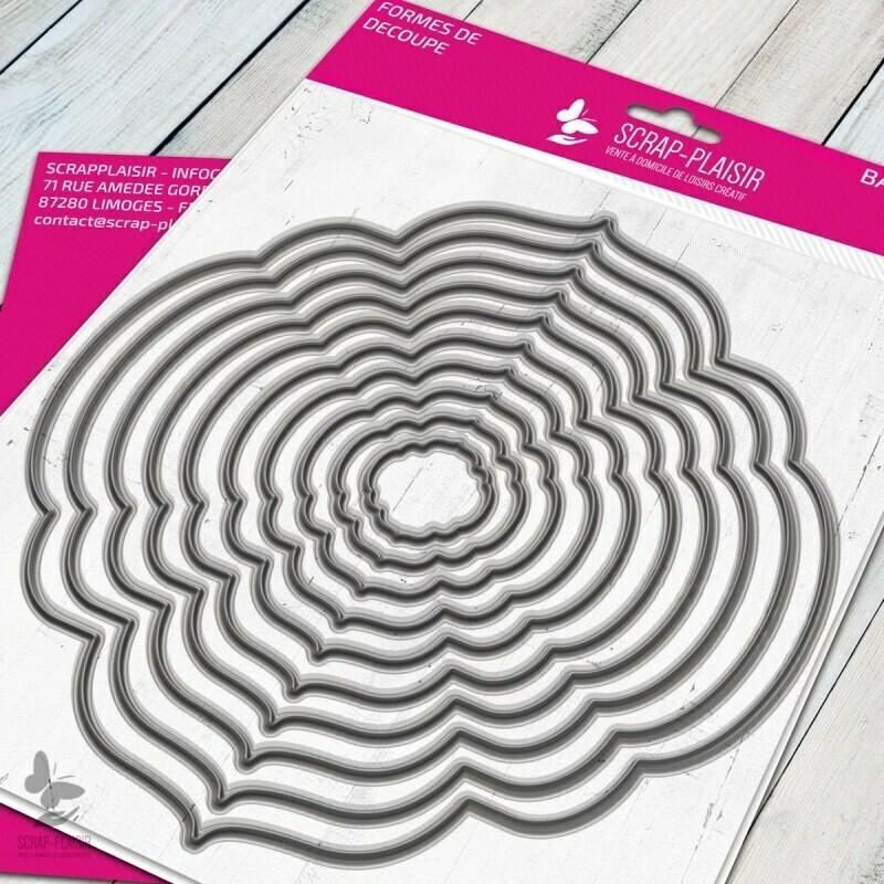 Set de 10 matrices de découpes dies cadres romantiques 1             - 14,5x14,5cm