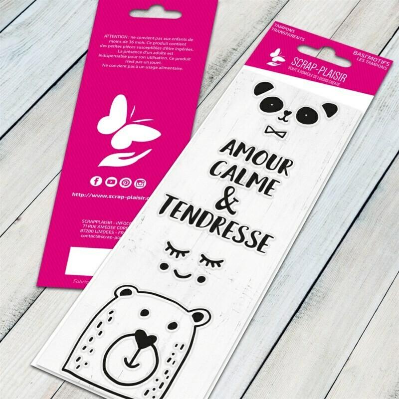 Set de 4 tampons clear panda tendresse - 13x5,5cm
