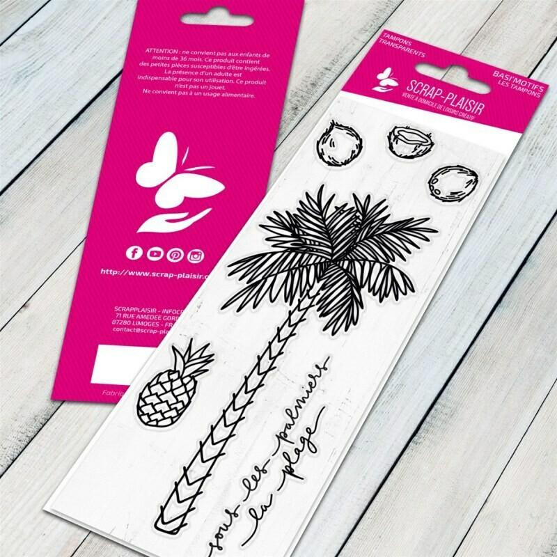 Set de 6 tampons clear sous les palmiers - 13x5,5cm