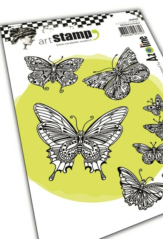 Set de 4 tampons cling A6 : Envol de papillons by Azoline - 10x15cm