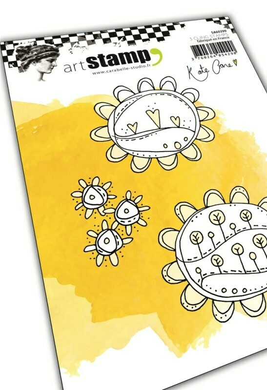 Set de 3 tampons cling A6 : Sunflower Doodles by Kate Crane - 10x15cm
