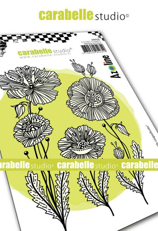 Set de tampons cling A6 : Gentils coquelicots by Azoline - 10x15cm