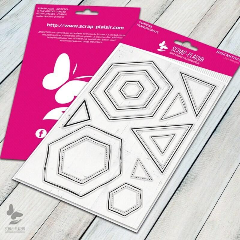 Set de 12 tampons clear hexagones - 10x15cm