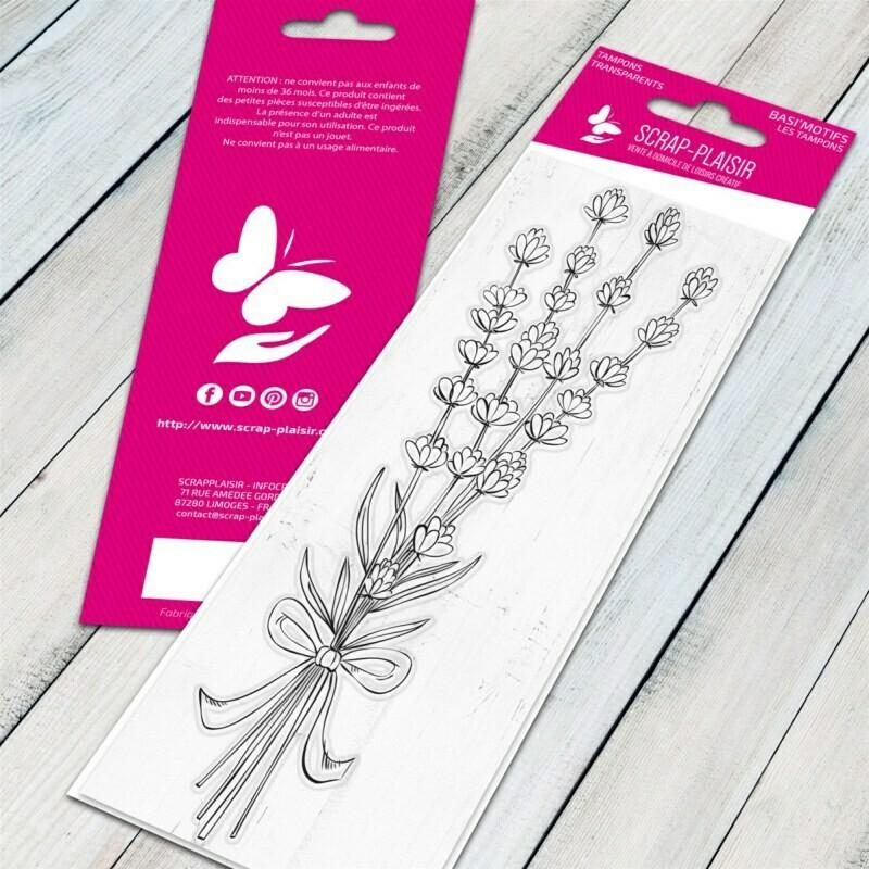 Set de 1 tampons clear bouquet de lavande - 13x5,5cm