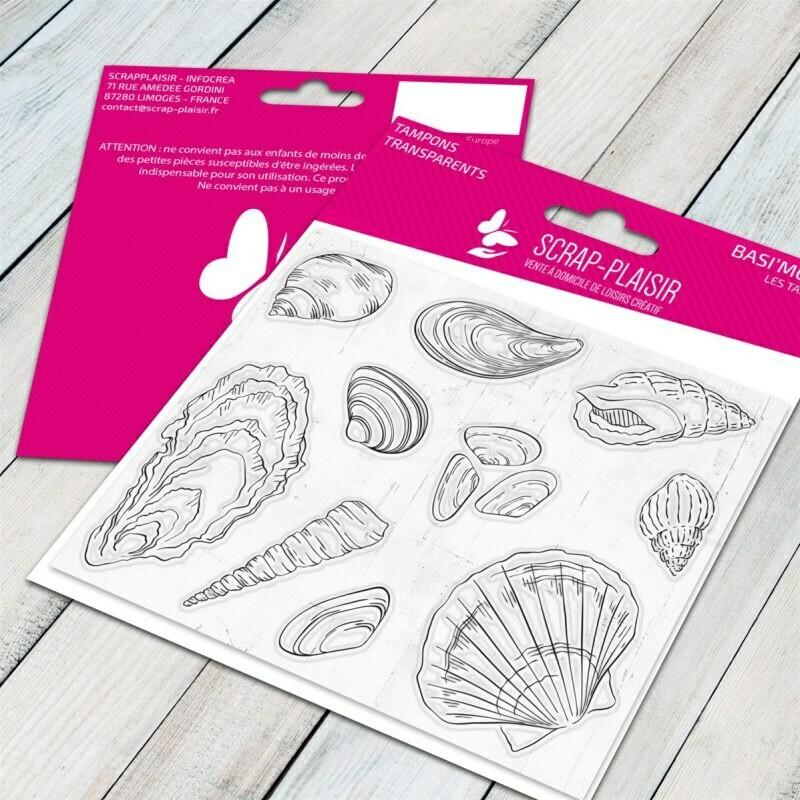 Set de 10 tampons clear coquillages et crustacés - 10x8cm