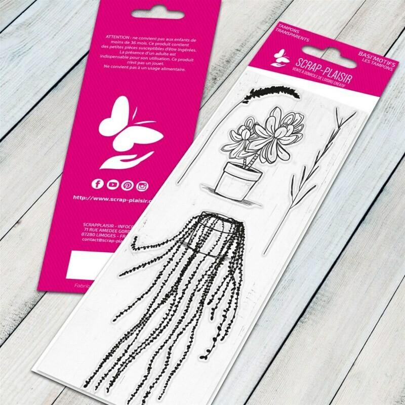 Set de 4 tampons clear plantes en pot - 13x5,5cm