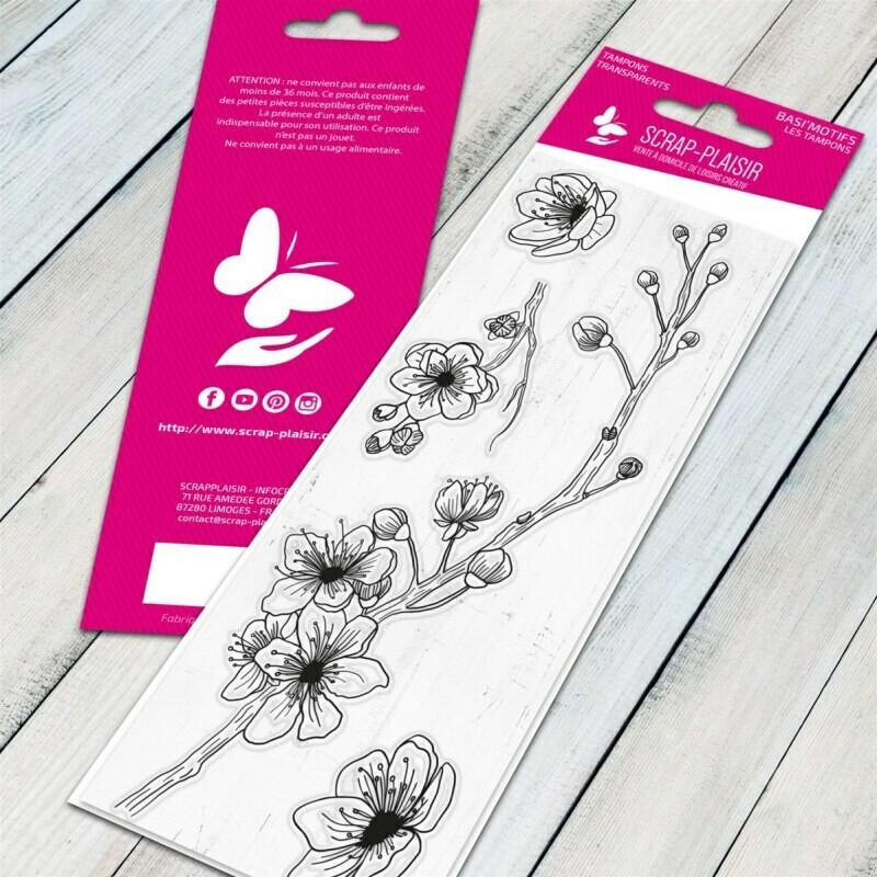 Set de 4 tampons clear cerisier - 13x5,5cm