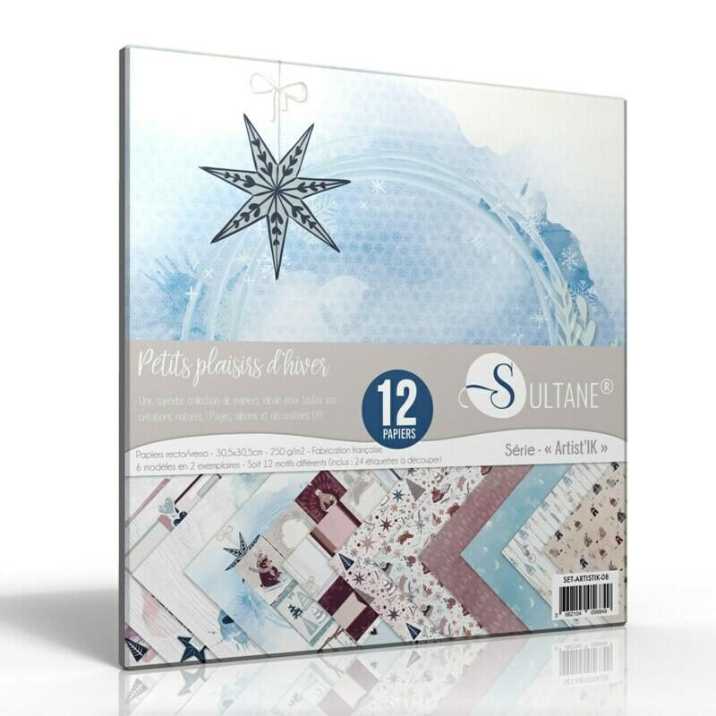 Set de 12 papiers Scrapbooking Petits Plaisirs - 250g imprimés Recto /Verso d'Hiver