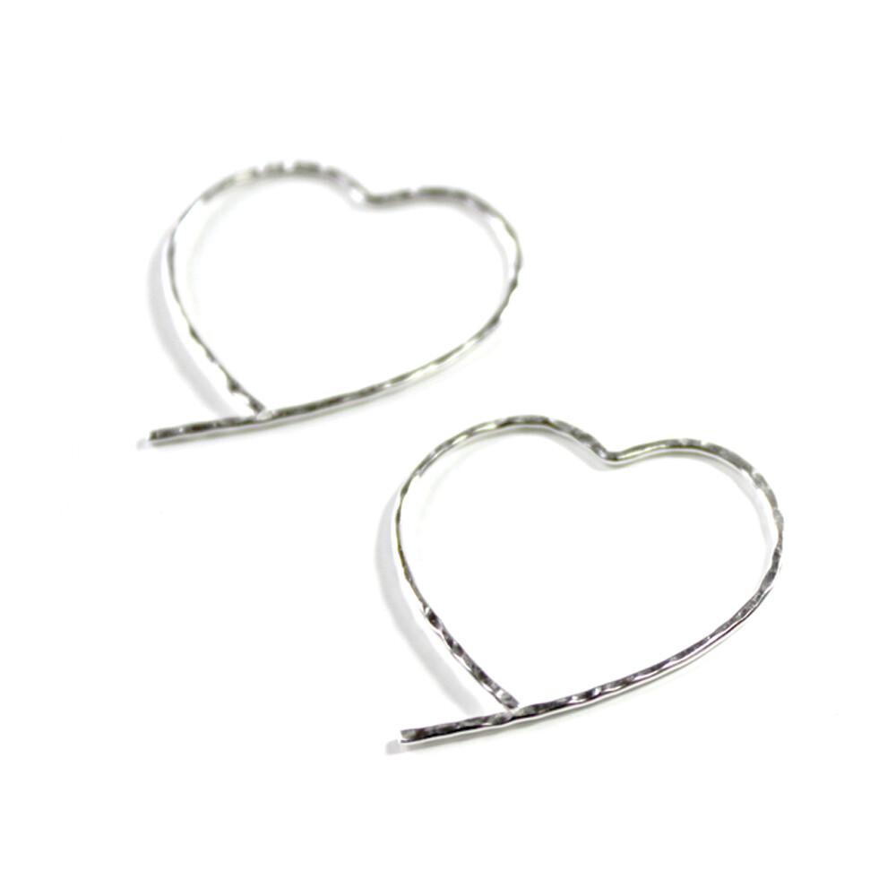 Sterling Silver Open Heart Earrings