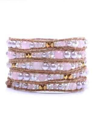 Rose Quartz Gold Bead Wrap Bracelet