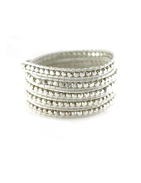 Marshmallow White & Silver Wrap Bracelet