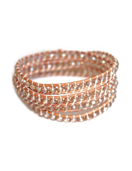 Iridescent Crystal Bead Wrap Bracelet