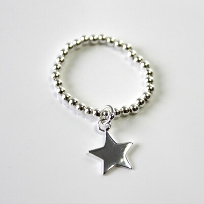 Sterling Silver Star Stretch Ring