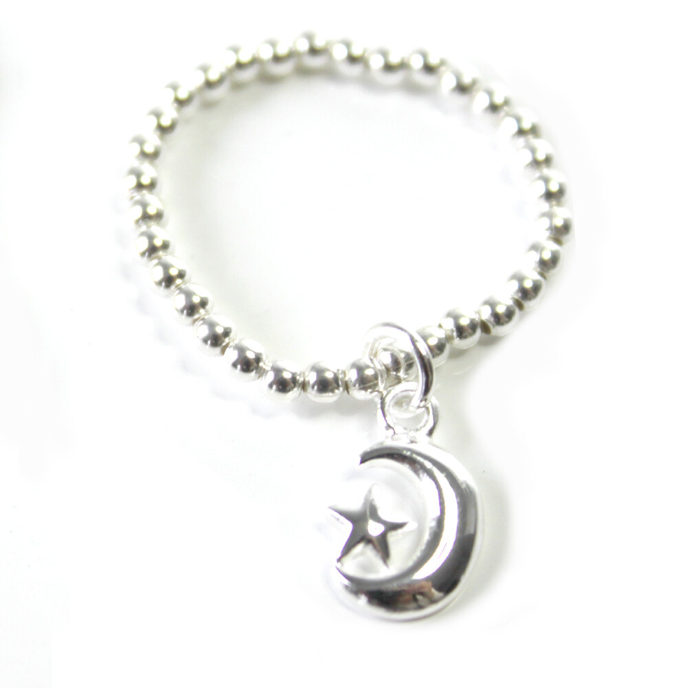 Sterling Silver Moon & Star Stretch Ring