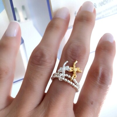 Vermeil & Sterling Silver Dragonfly Stretch Ring