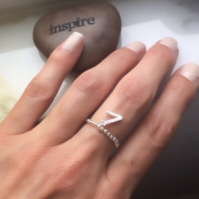 "Sterling Silver ""V"" Is For Vegan Stretch Ring"