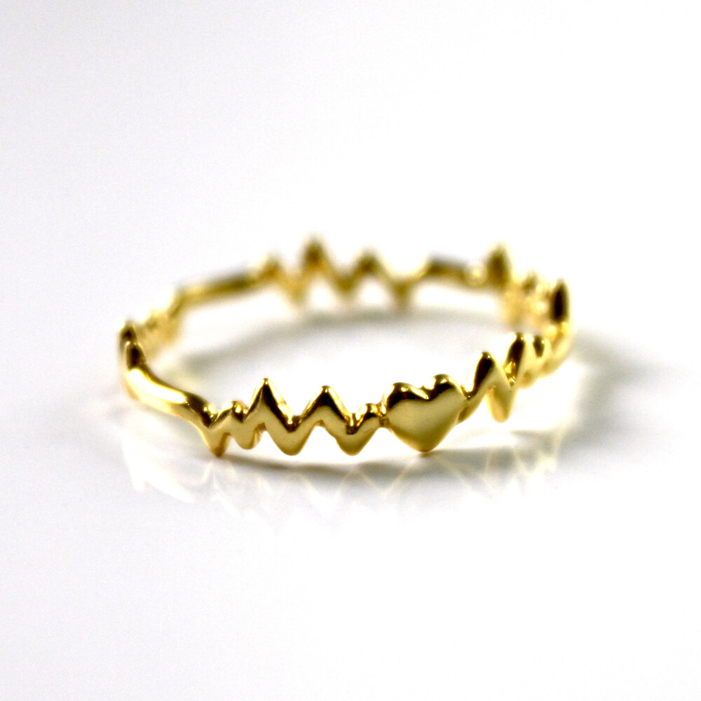 Vermeil Heart Beat Ring Size 6