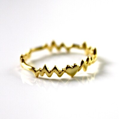 Vermeil Heart Beat Ring Size 7
