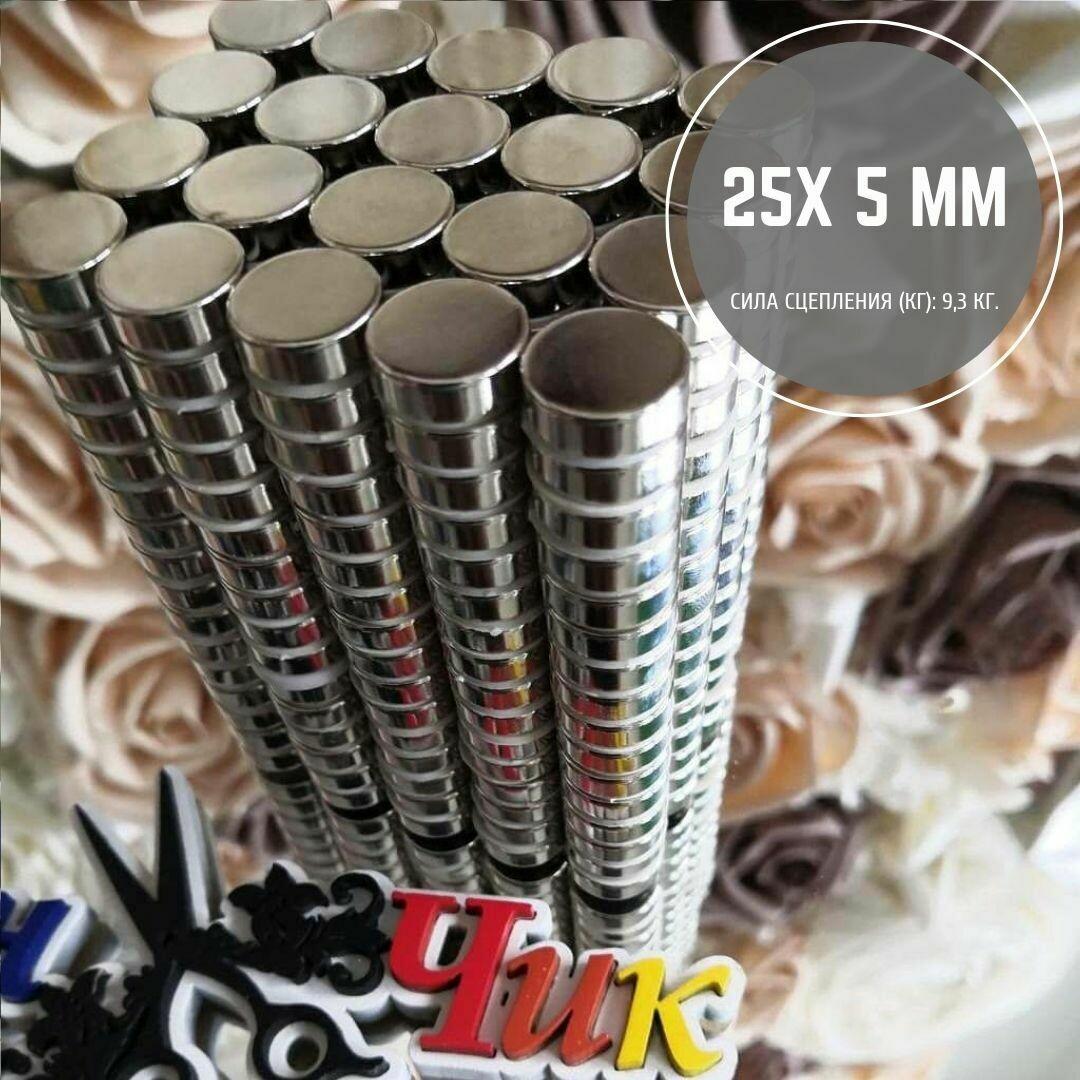 Неодимовый магнит 25х5 мм (набор 3 шт)