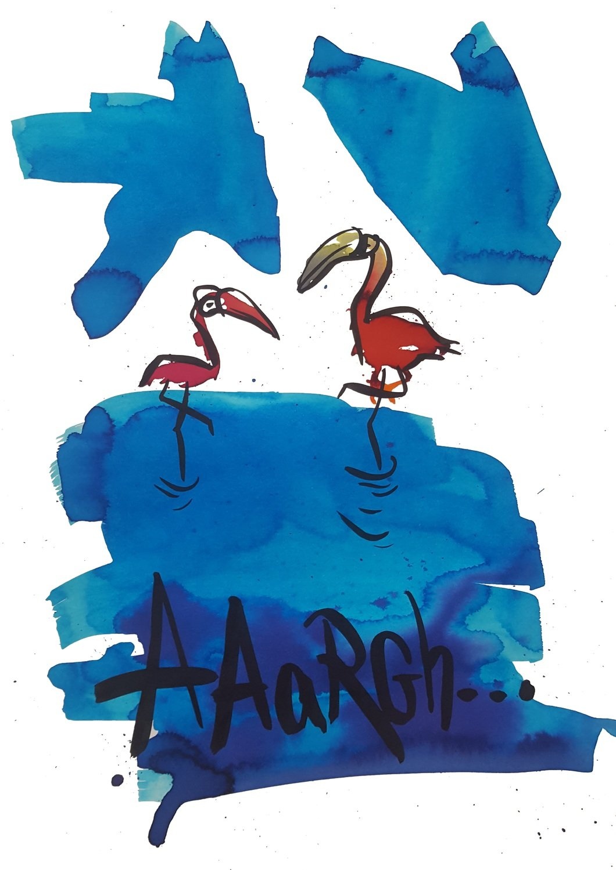 Flirting flamingos
