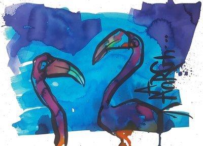 Flamingos by night