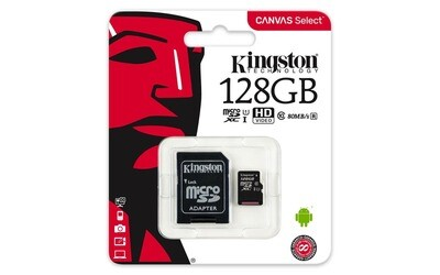 128 GB Micro SD Memory Card with Adapter (Class 10) - Kingston